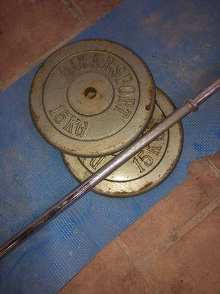 Barra musculación 28 mm y 2 discos 15kg