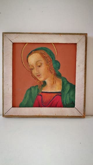 Cuadro religioso pintado sobre una rejola. Está fi