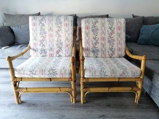 2 butacas sillas de Bambú, con cojines a medida
