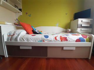 cama de 90 con 2 cajones bajos colchón incluido