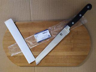 cuchillo profesional + tabla de pan + bayetas