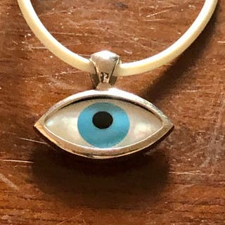 925 Silver Evil Eye Pendant On White PU Necklace