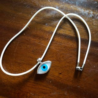 925 Silver Evil Eye Pendant On White PU Necklace