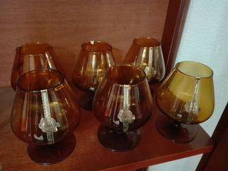 conjunto de 6 vasos de cristal SANBO en tono ocre