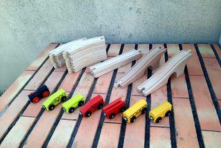 tren de madera y vía ikea