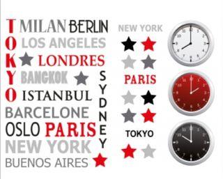Vinilo adhesivo sticker relojes ciudades horarios