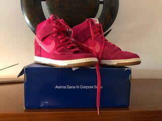 Zapatillas bota Nike mujer piel fucsia