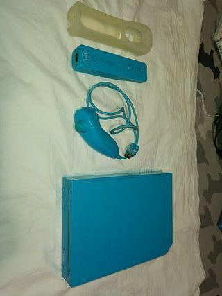 Wii Azul + Mando + Nunchuk + Funda mando