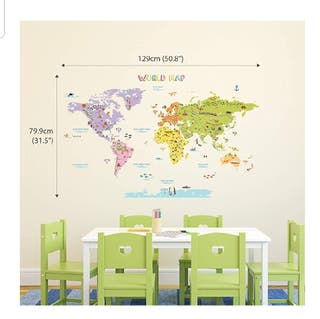 Vinilo mapa mundi infantil nuevo 79 x 129