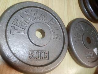 Discos Pesas 5Kgs (10kgs) (28mms) . Muy nuevos.