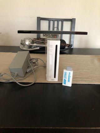 Consola Wii y 5 juegos y adaptador HDMI