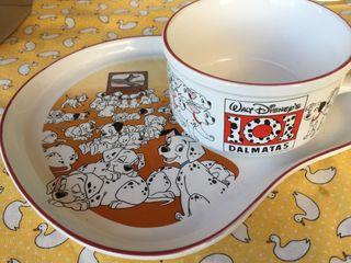 Taza y plato Disney 101 dalmatas sin uso