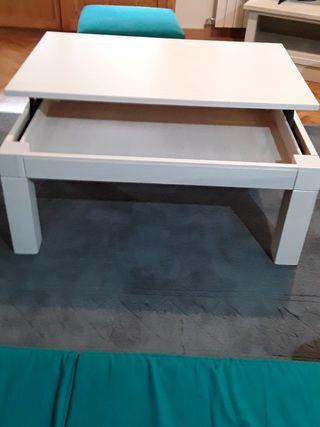 Mesa de centro extensible de madera lacada blanco