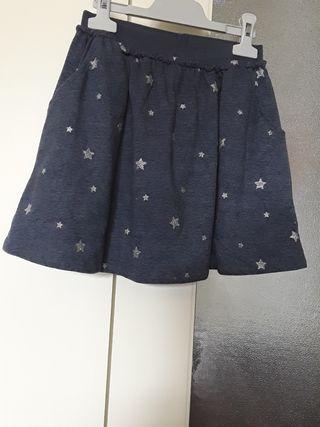 Falda azul estilo deporte con bolsillos