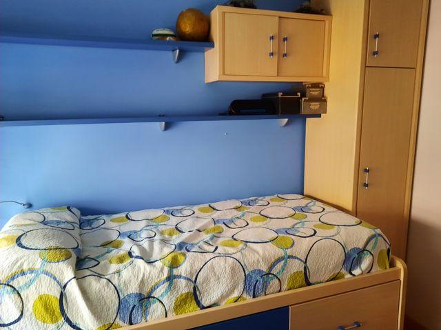 Cama, estanterias y armarios