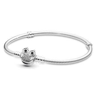 Pulsera Búho para Charms Pandora chapada en plata