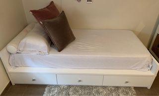 Cama individual con almacenaje y colchón