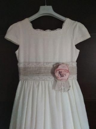 vestido de comunión plumeti talla 120cm/ 12