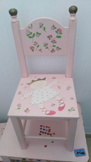 silla niña madera decoración