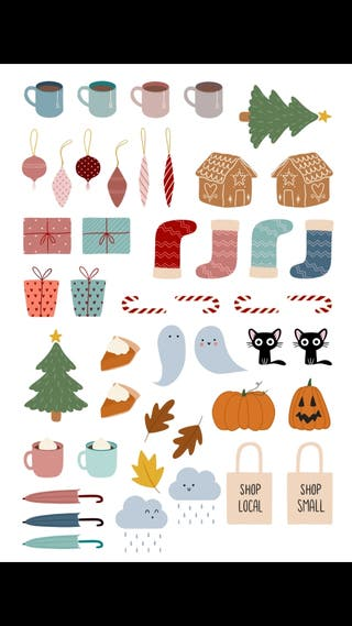 PDF pegatinas Navidad y Halloween