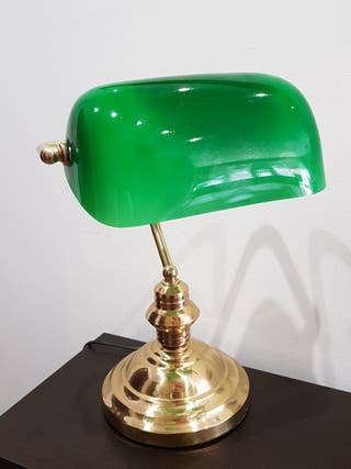 lámpara sobremesa opalina verde
