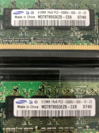 Pack 2x DIMM 512MB Samsung para PC
