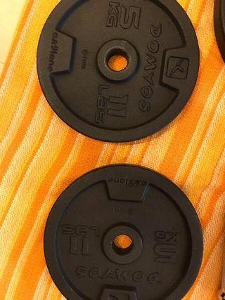 2 discos de 5kg de peso hierro