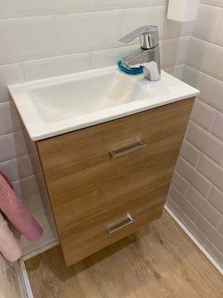 Mueble y espejo baño madera clara 45 cm * 25