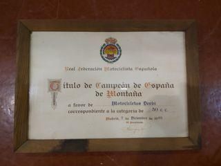 Título campeón de España Derbi 50cc