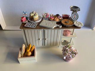 Cocina casa de muñecas mesa completa escala 1:12