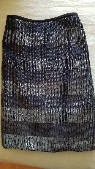 Falda lentejuelas en azul y negro