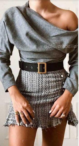 Falda tweed zara