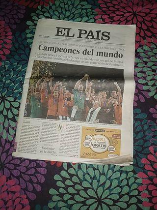 Periódico El País Campeones del mundo de fútbol