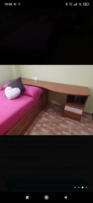 Habitación completa Nido 2 camas de 90cm