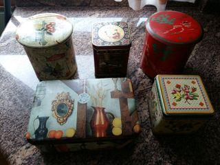 5 latas de hojalata vintage