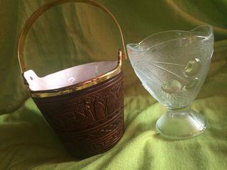 Cubitera y vaso de cristal