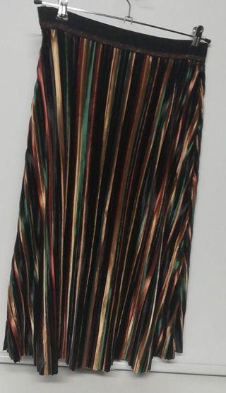 Falda terciopelo cintura elastizada rayas Vintage