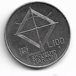 ITALIA,100 LIRAS 1974,GUGLIELMO MARCONI.