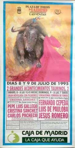 CARTEL DE TOROS DE MADRID, JULIO 1995.