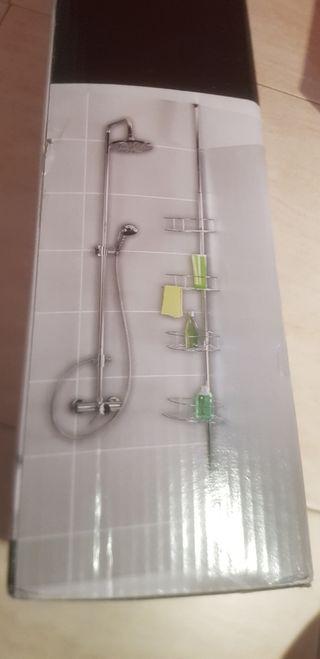 Estante para la ducha y porta rollo y escobil