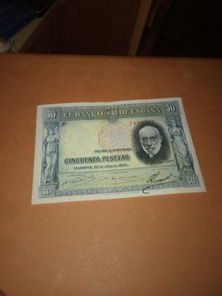 billete de 50 pesetas 1935 azul