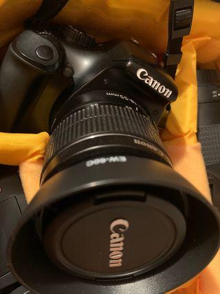 Canon 1100D + Mochila+ flash+ objetivo+ temporizad