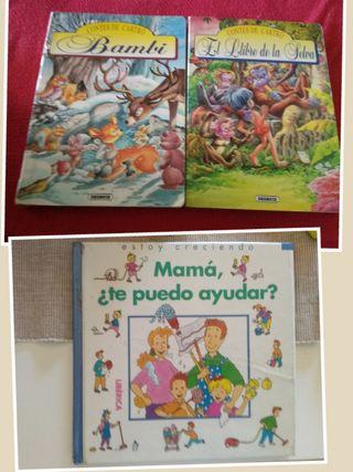 3 Cuentos cartón Duro, Bambi, libro de Selva...