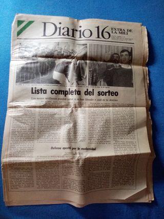 Periódico de un sorteo de la mili del año 1987.