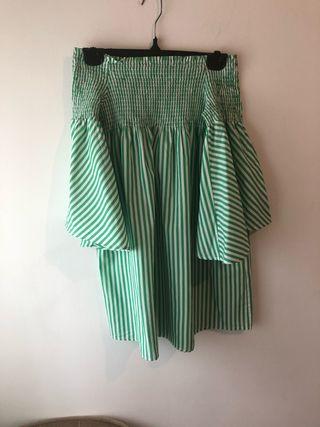 Vestido rayas verdes mangas farol