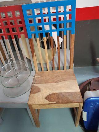 sillas madera maciza diferentes colores