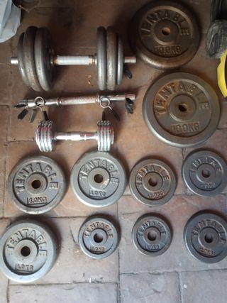 68 KG, discos pesas y mancuernas