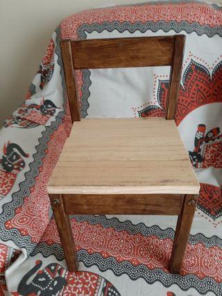 silla de madera de niñ@s