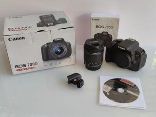 Canon 700D objetivos, cargadores, memoría, mochila