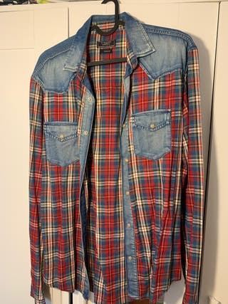 Camisa Zara vaquera de cuadro talla M